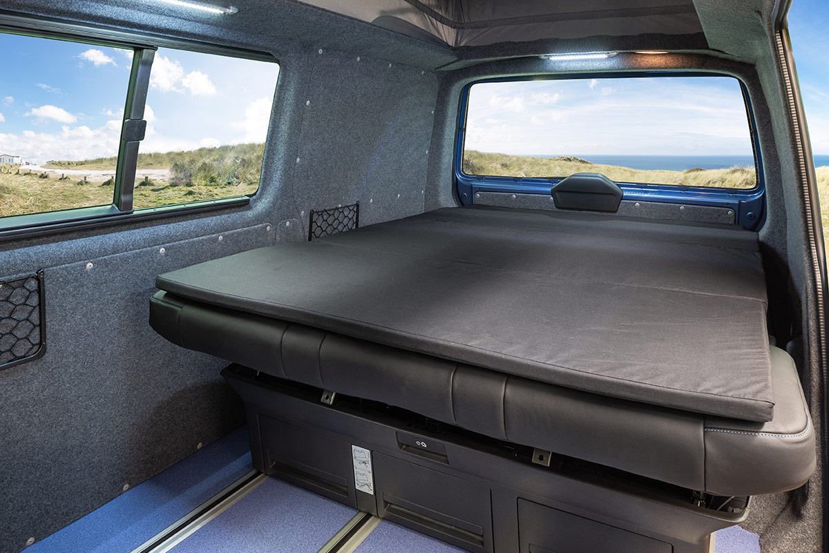 Showing bed down in B-active VW Campervan Conversion