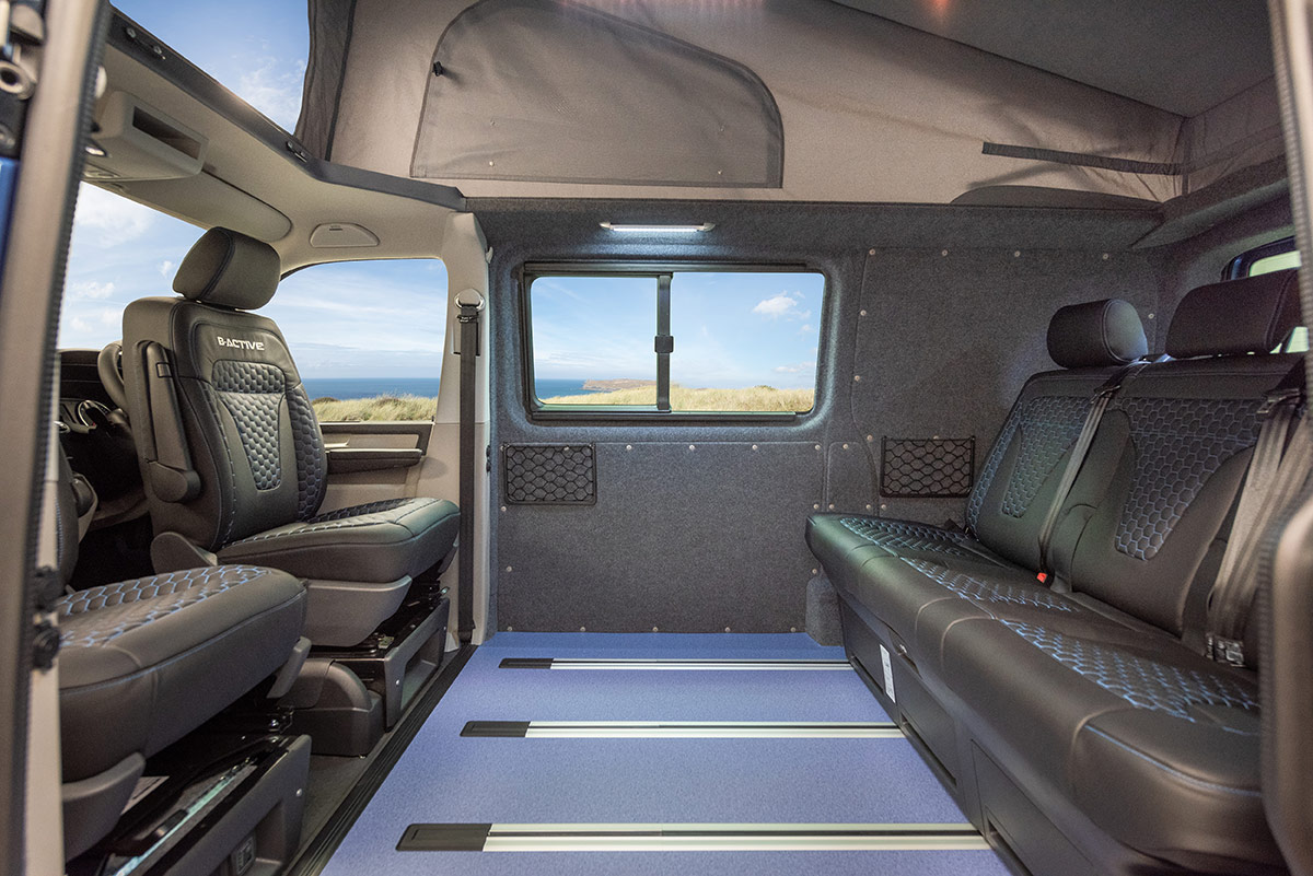 Seating arrangement inside b-active VW Campervan Conversion