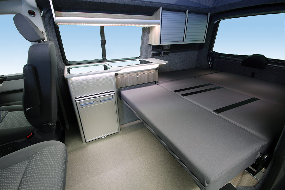 Rear view showing interior of Dreamaker lwb VW Campervan