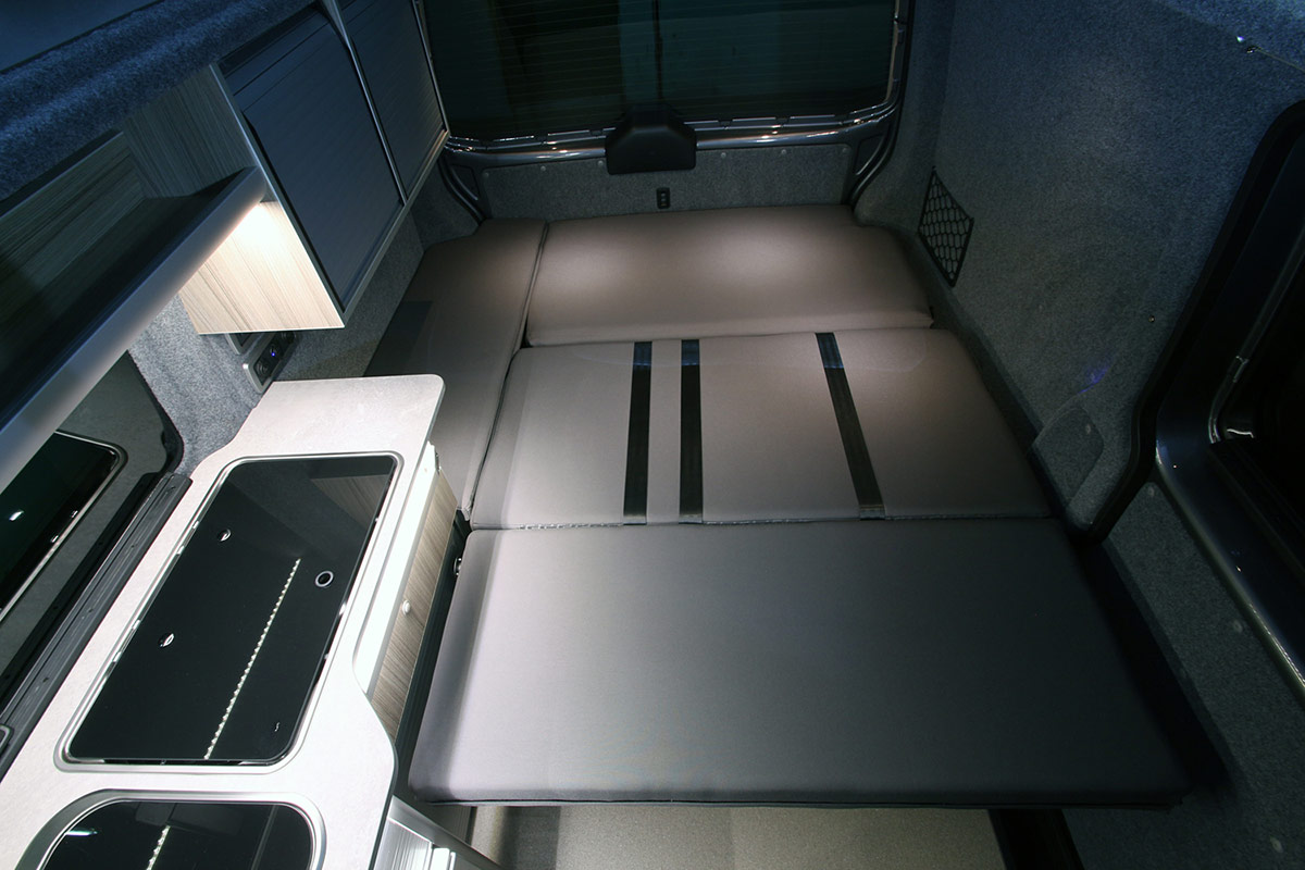 The cooker and sink of the Dreamaker Campervan
