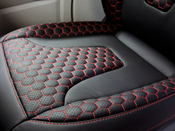 Italian leather seats with red stitching for VW Campervan Conversion
