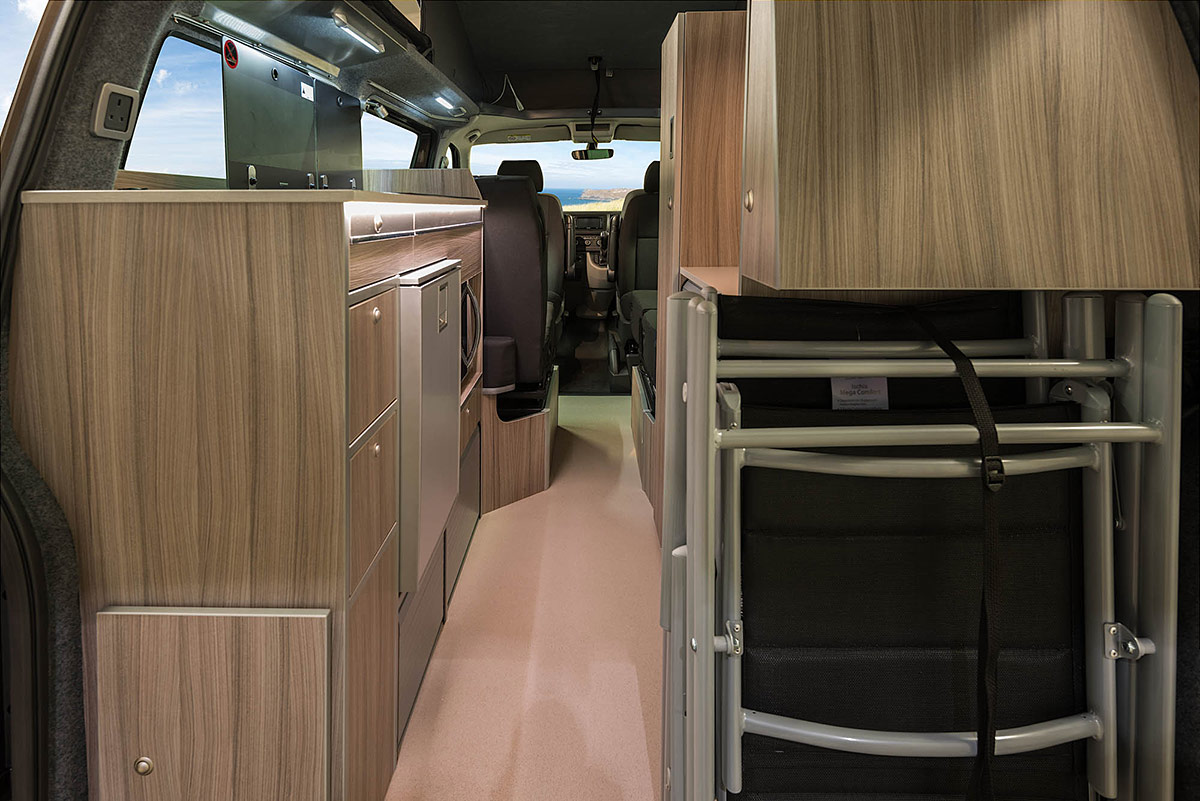 Rear view of interior of Tourlander VW Campervan Conversion