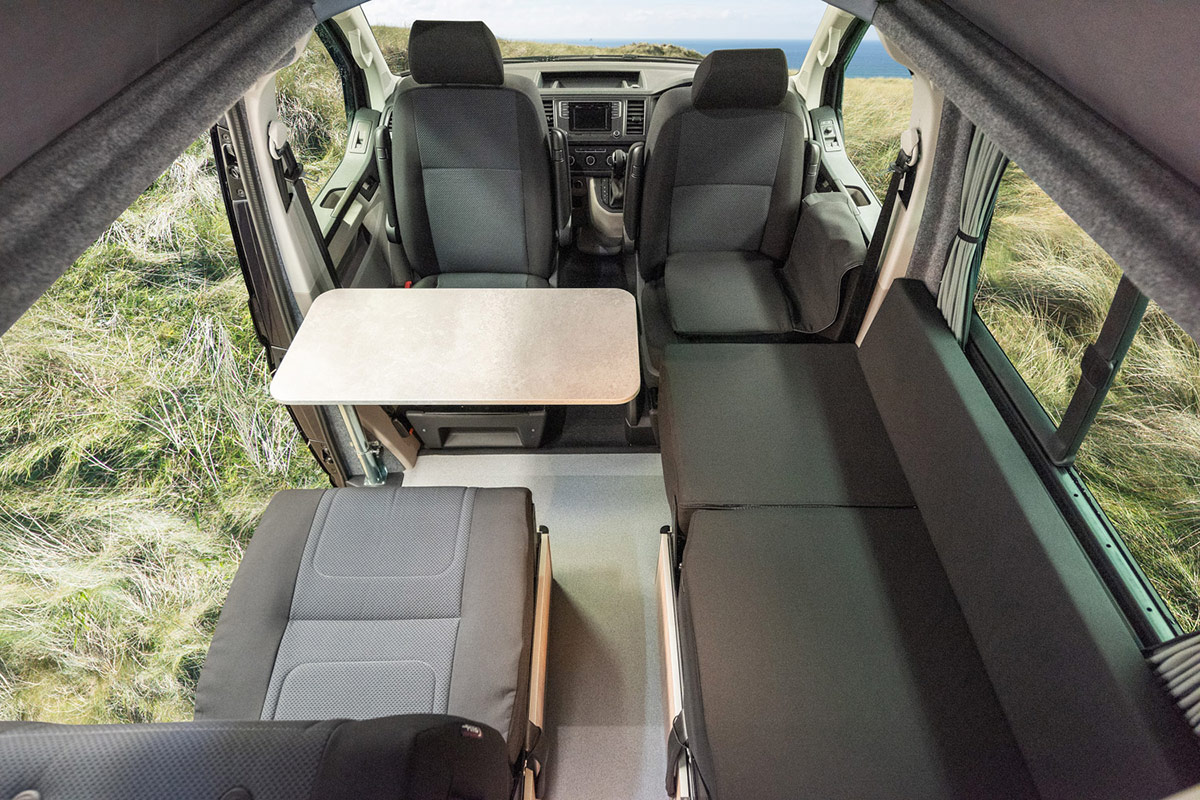 Seating arrangement inside transtourer VW Campervan Conversion