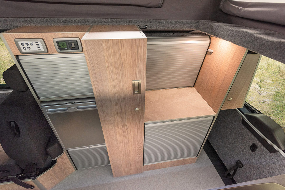 Storage cupboards inside transtourer VW Campervan Conversion