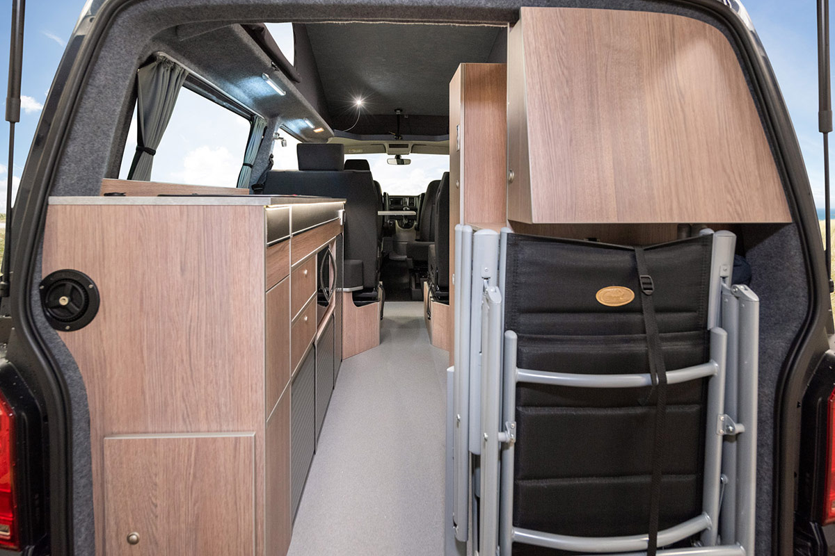 Rear view of interior of transtourer VW Campervan Conversion