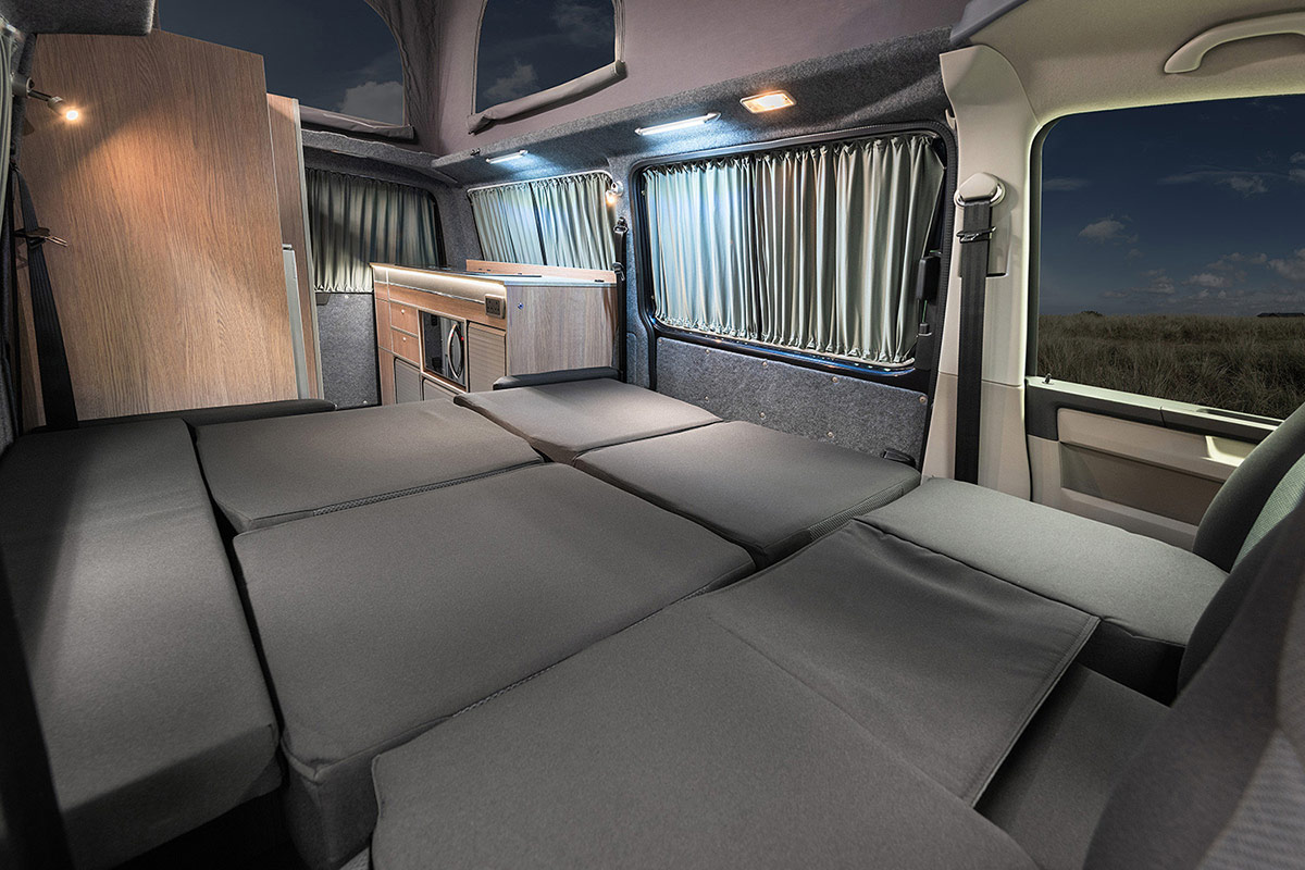 Interior showing sleeping arrangement when beds are out