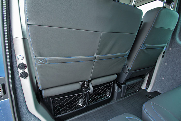 Back of the front seats shwing storage areas