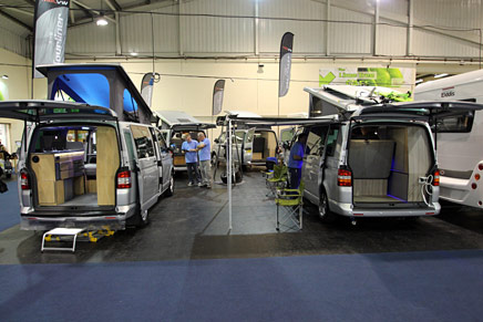VW Transporter undergoing conversion to a campervan at their workshop near Truro