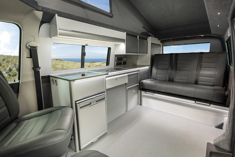 Interior of our LWB Freerunner Campervan Conversion
