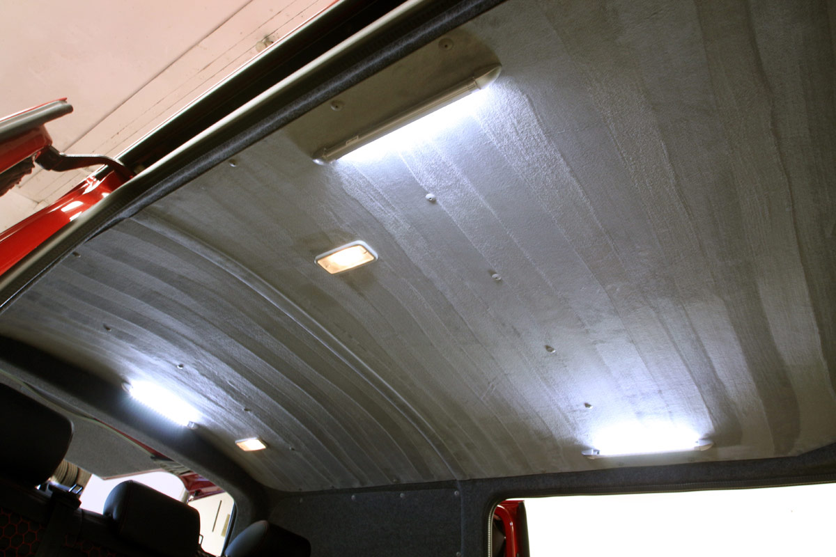 Photo showing ceiling of the B-Active VW Campervan