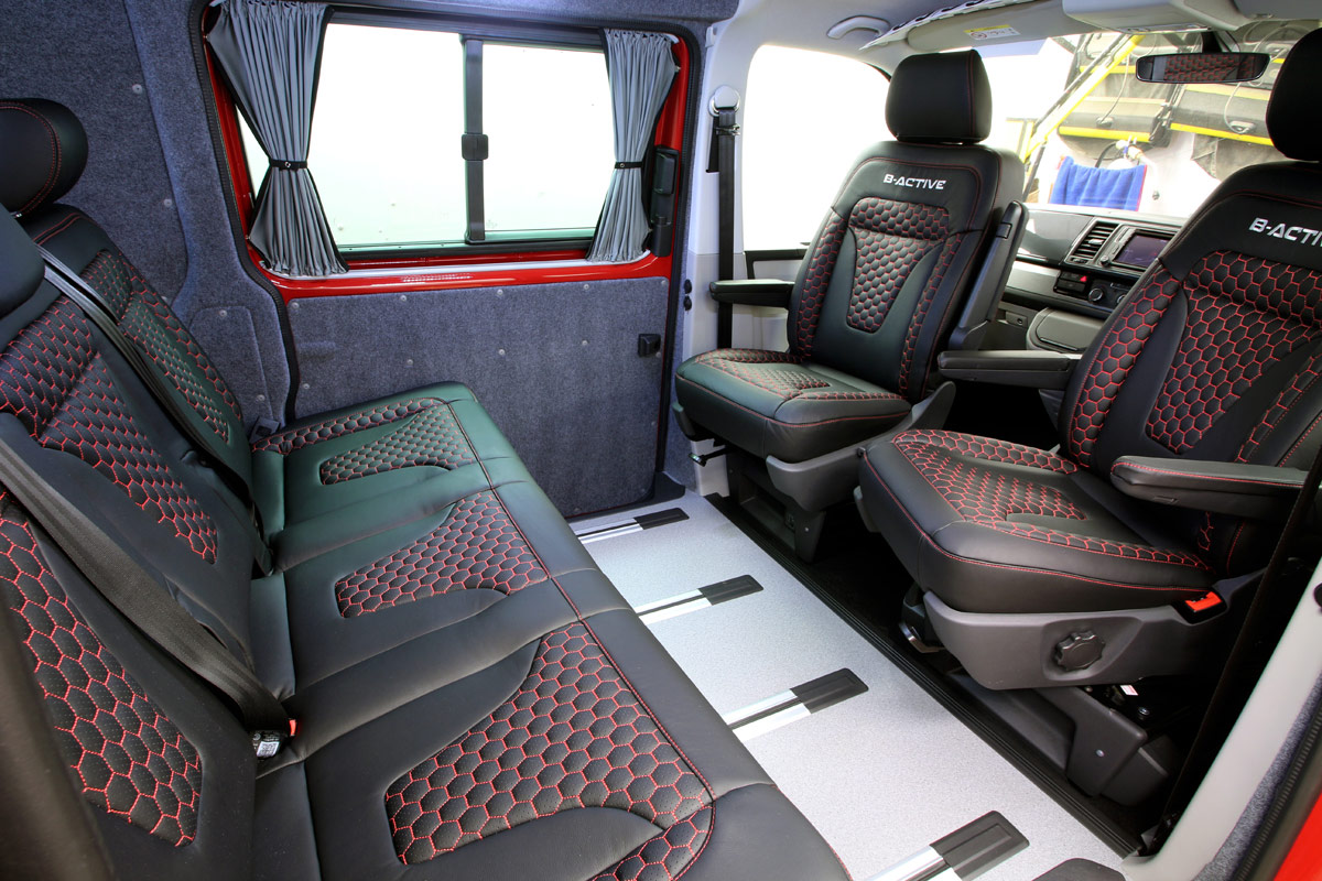 Interior of VW B-Active showing front and rear seating arrangement