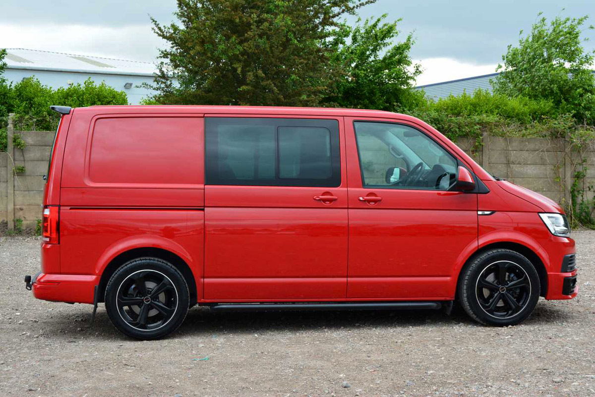 Cherry Red VW T6 Highline Kombi from driver side