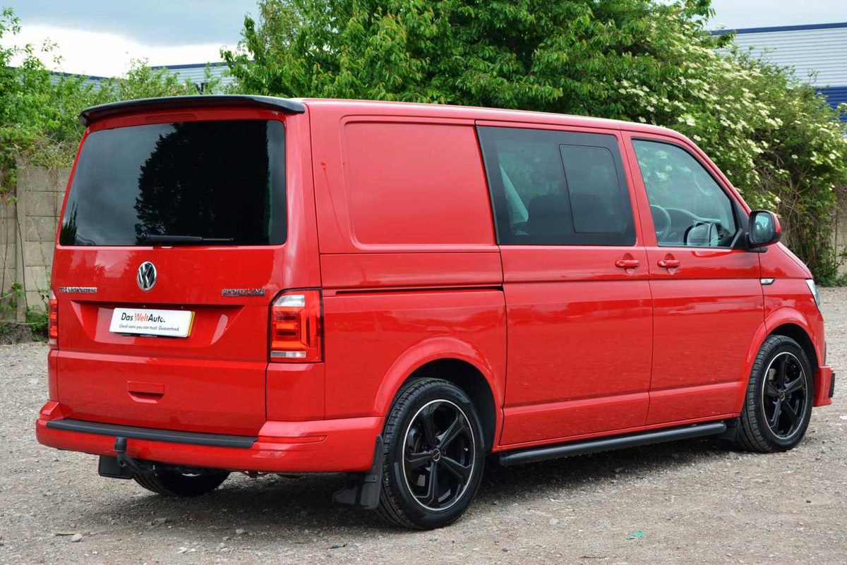 Rear view of Cherry Red VW T6 Highline Kombi