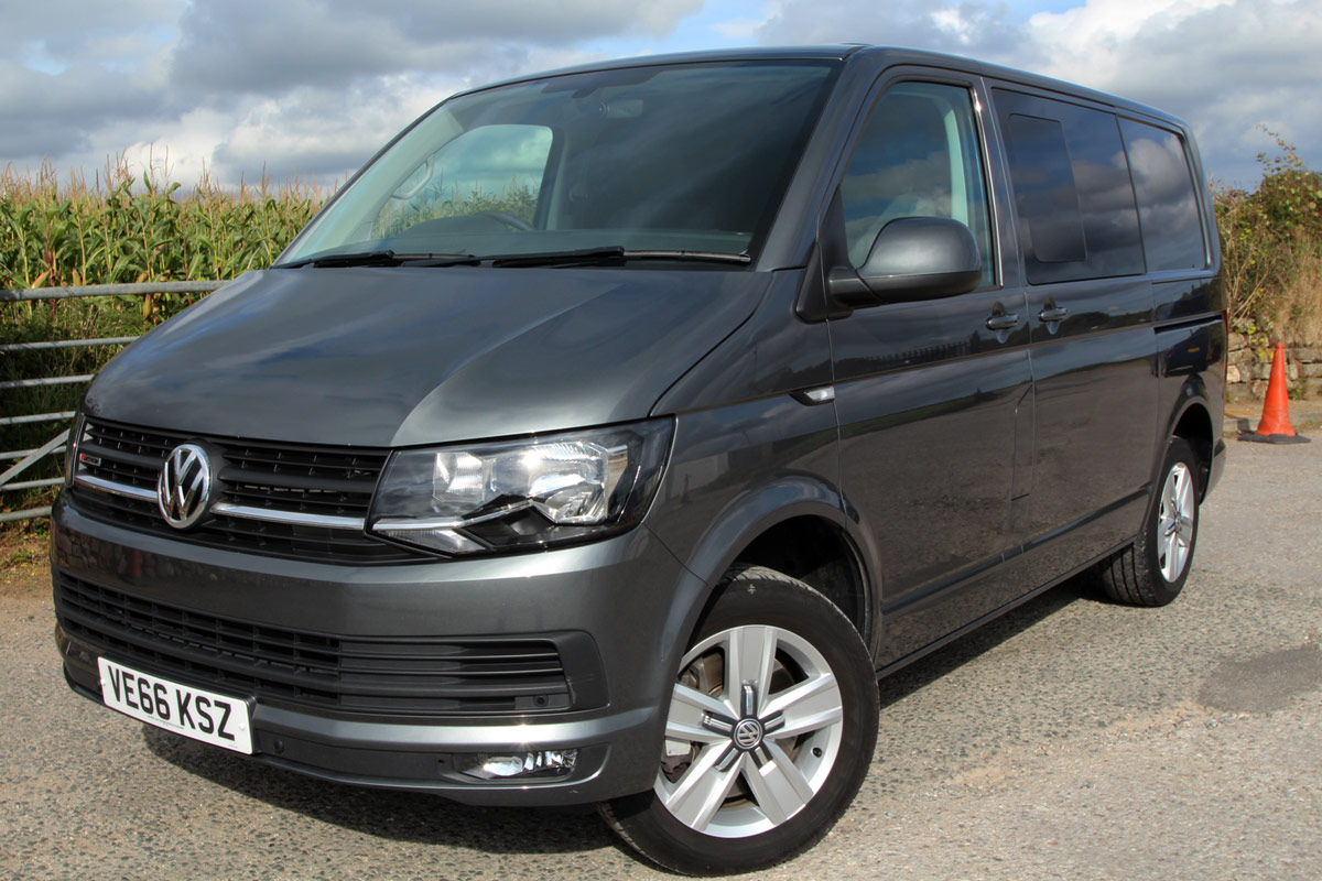 Front view  of Grey VW T6 Transporter