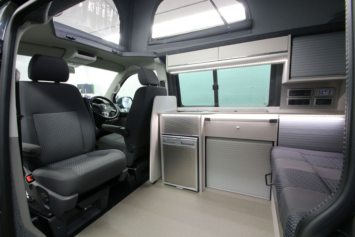 Rear view showing side sliding door