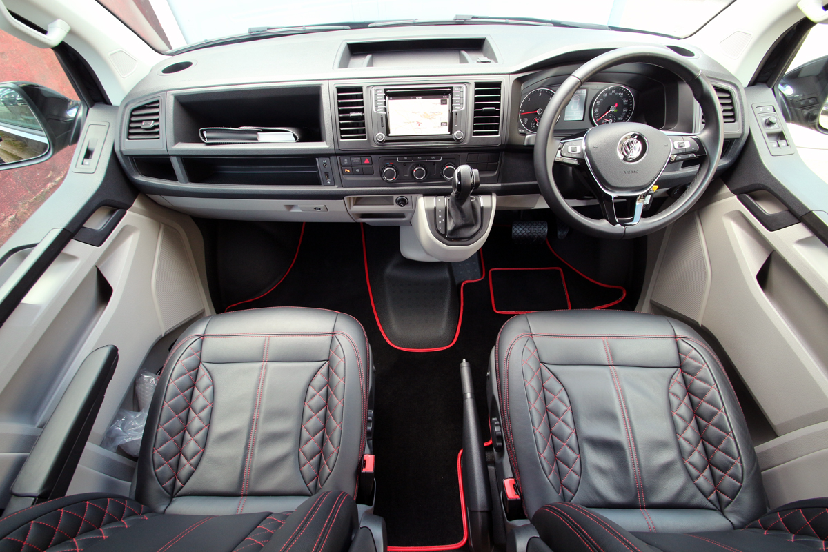Interior and dashboard of VW T6 Transporter